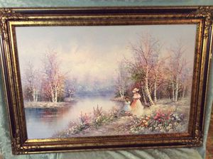 Large Mother And Daughter Oil On Canvas Painting for Sale in Bauxite, AR