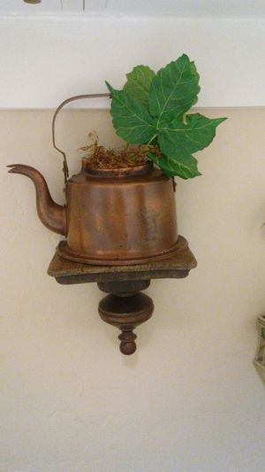 Copper wall decor. Half coffee pot. Wood is rugged. Could paint. This is old. Firm price.l Deer vly 67th ave pikup Only for Sale in Glendale, AZ