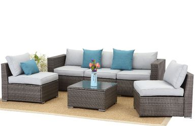 Astrid 6pc patio set 🥰💕🌷beige and blue JUST $39 Down for Sale in Houston,  TX