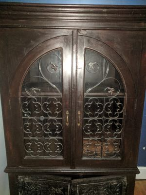 Antique cabinet carefully crafted dark wood piece. for Sale in Boca Raton, FL
