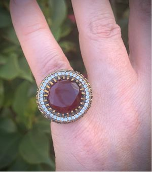 ORIG VINTAGE Ruby/Emerald RING Sz 7 Solid 925 Sterling Silver/Gold WOW! Gems: 1 Brilliant Facet Round Cut Ruby Gemstone, Numerous Round Emeralds n' D for Sale in San Diego, CA