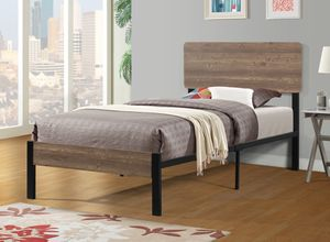 TWIN SIZE Platform Bed with Headboard / No Box Spring Needed |SKU# 7532T for Sale in Santa Ana, CA