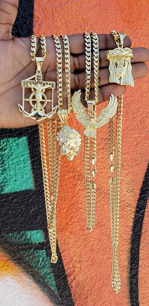 $70 each👑👑Cuban Link 5mm Chain and Pendant 14k Gold Plated💎💎💎I Deliver 🚘🚘🚘 for Sale in Miami, FL