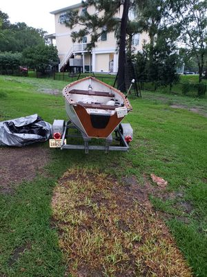Homemade wooden boat and trailer for Sale in Dickinson, TX