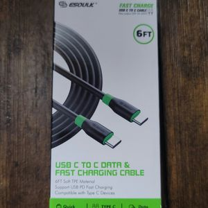 Type C To C 6ft. Data & Fast Charging Cable for Sale in Los Angeles, CA