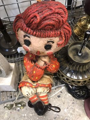 RARE LAMP RAG DOLL ANTIQUE Annie VINTAGE LIGHT for Sale in Chicago, IL