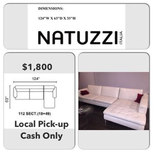 Natuzzi White Leather Sectional for Sale in North Bethesda, MD