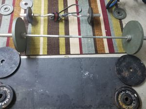 Barbell with ez curl bar for Sale in Texas City, TX