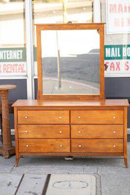 "#33427 Modern Asian Teak 18"" x 33"" x 60"" Wide 6-Drawer Dresser with Mirror - $245 for Sale in Oakland, CA"