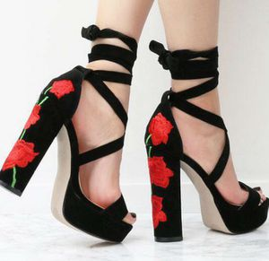 Red Open Toe Floral Embroidered lace up Suede Heels for Sale in Houston, TX