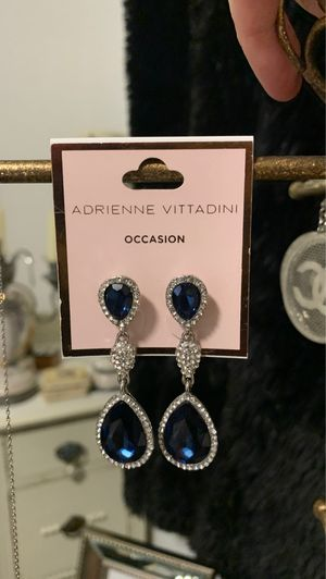 Adrienne Vittadini Blue Sapphire and Diamond 💎 CZ Earrings~* for Sale in Calabasas, CA