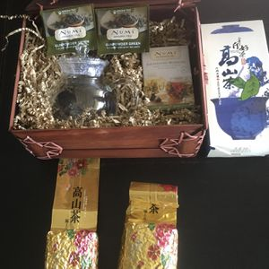 Numi Tea basket with tea pot & tea and Extra box of tea for Sale in Los Angeles, CA