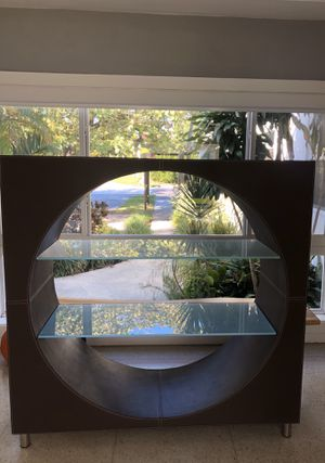 Leather & Wood Display with 2 Glass Shelves - Miami Beach for Sale in North Bay Village, FL