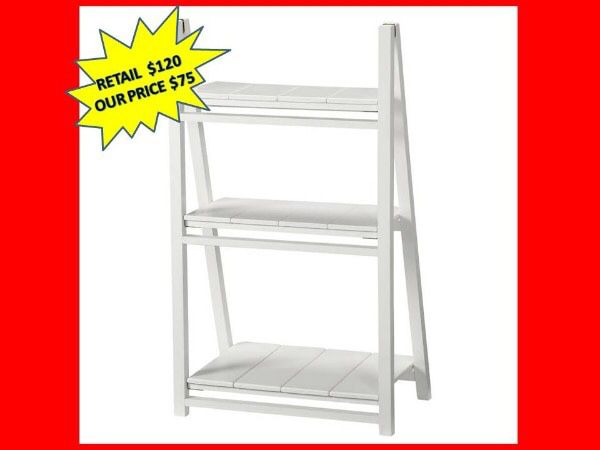 Casual Home Nolan White Folding 3- Shelf Ladder Bookcase BRAND NEW