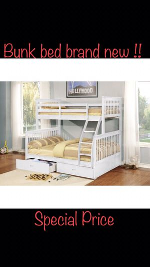 Bunk bed full over twin with 2 drawers at the bottom white color brand new in box !! ( mattress not included) for Sale in Chula Vista, CA