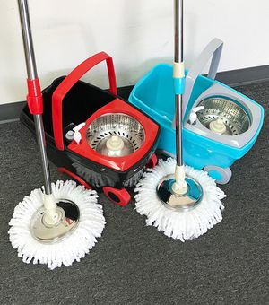 (NEW) $25 each Deluxe Spin Mop with Wheels and Extended Handle with 2x Microfiber Mop Heads for Sale in South El Monte, CA