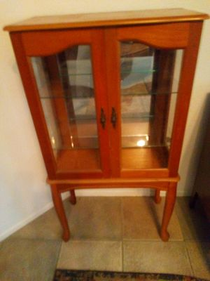 "Small 2 shelf curio, with light see. 43""high, 23""long, 13"" wide for Sale in Menifee, CA"