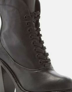 Kelsi Dagger Brooklyn Berlin Black Leather Mid Calf Combat Boots high heels 7.5 for Sale in West Hollywood,  CA
