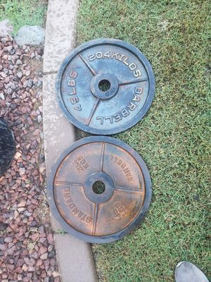 Set of 2 45lbs olympic weights for Sale in Yuma, AZ
