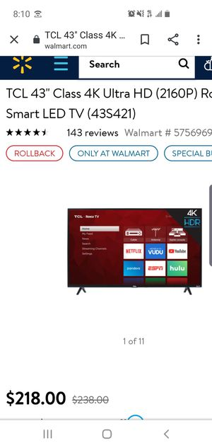 "43"" TCL Roku smart TV for Sale in Milford, OH"