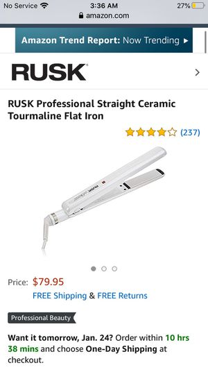 RUSK Professional Straight Ceramic Tourmaline Flat Iron for Sale in Belmont, NC