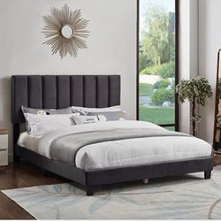 Queen Bed In Grey🛌(Mattress Included) for Sale in Lynwood,  CA