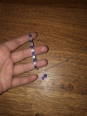 Purple sapphire sterling silver jewelry set for Sale in Cumming, GA