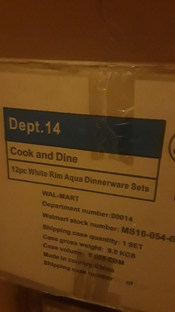White Rim Aqua 12 Piece Dinnerware Set, Aqua