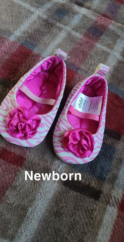 Newborn pink slip on shoes for Sale in Hoxeyville,  MI