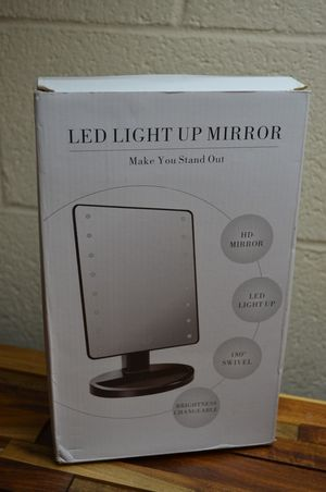 "LED makeup mirror 8.5"" x 6.5"" black adjustable cosmetic portable tabletop vanity for Sale in Diamond Bar, CA"