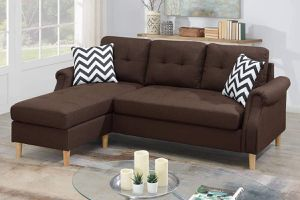 DARK BROWN REVERSIBLE SECTIONAL CHAISE SOFA / SILLON SECCIONAL for Sale in Temecula, CA