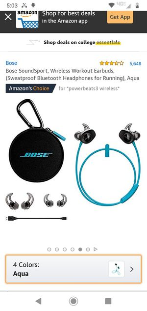 Bose SoundSport, Wireless Workout Earbuds, (Sweatproof Bluetooth Headphones for Running), Aqua, Factory Sealed for Sale in Norfolk, VA