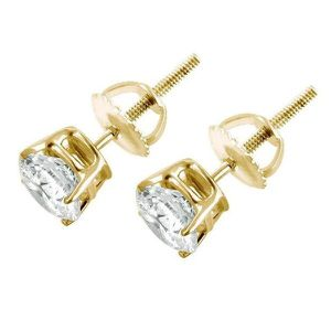 14 kt gold diamond earrings with screw backs .25 total weight for Sale in New York, NY