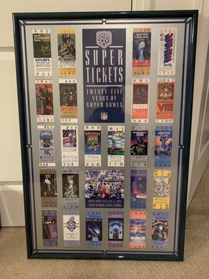 Super bowl tickets framed picture for Sale in Teaneck, NJ