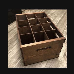 Old wooden 12 slot bottle or wine crate stained brown (each slot 4x4) - 18 inches long, 12 1/2 wide, 9 inches deep for Sale in Henderson, NV