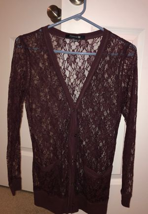 Forever 21 burgundy lace cardigan for Sale in Brecksville, OH