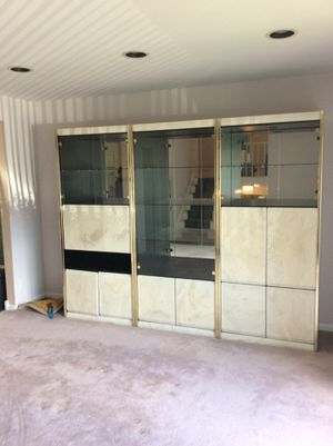 Beautiful 3 piece lacquer wall unit with mirror back and pull down bar for Sale in Bloomfield, NJ