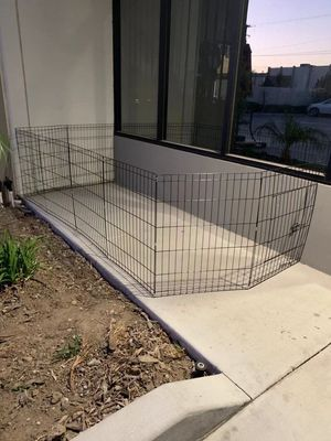 New in box 30 inch tall x 24 inches wide each panel x 8 panels steel wire exercise playpen 16 feet long fence safety gate dog cage crate kennel expan for Sale in San Dimas, CA