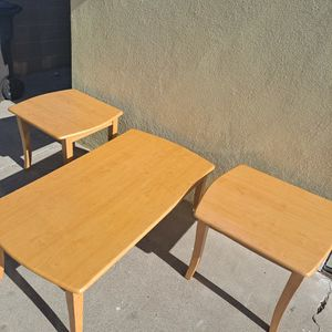 Wood Coffee Table With 2 End Tables, Good Condition! for Sale in Long Beach, CA