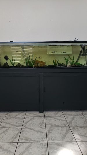 90 gallon fish tank and stand comes with decorations light and heater.Fish available. No leaks for Sale in Menifee, CA