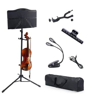 Klvied Sheet Music Stand with Violin Hanger, Portable Folding violin Stand for Sheet Music with Carrying Bag and Light for Sale in Hazel Park, MI