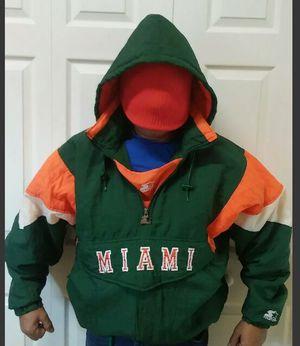 Miami Hurricanes Starter Jacket Mens L Vintage 90s Hoodie Coat Pullover 1/2 Zips for Sale in Orlando, FL