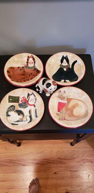 Sakura plates + 1 vintage cat figurine for Sale in Manassas, VA