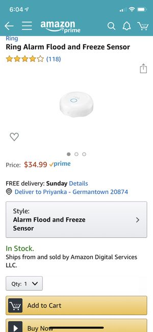 Ring alarm flood and freeze sensor for Sale in Germantown, MD