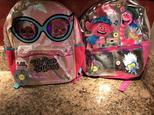 NWT 2 Girls Backpacks for price of 1 L.O.L /Trolls for Sale in Las Vegas, NV