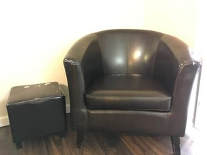 Relaxing comfort chair / small love seat with futon leg rest for Sale in Denver, CO