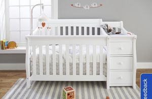 Nursery Set - 4 in 1 Crib with changing table, Chest of Drawers and new Mattress for Sale in Boston, MA