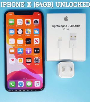 IPhone X (64GB) Factory-UNLOCKED + Accessories for Sale in Falls Church, VA