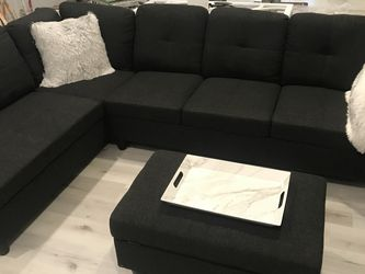 COSTCO linen Sectional Couch And Ottoman for Sale in SeaTac,  WA