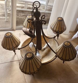 5 Light Stain Glass Chandelier in Good Working Conditlion for Sale in St. Petersburg, FL